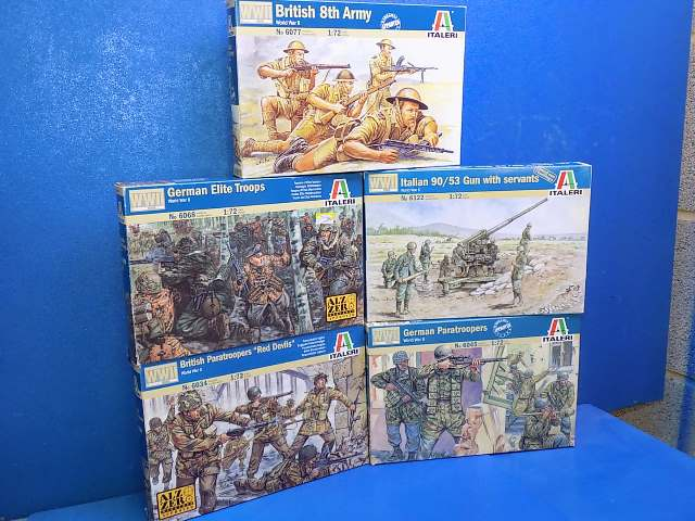 Italeri 1/72 - 8th Army, German Elite, Red Devils, Italian 90/53 Gun and German Paratroopers Date: 00's