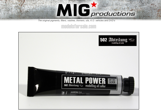 Mig Productions na ABT205 Abteilung Oil Colour - Metal Power Silver