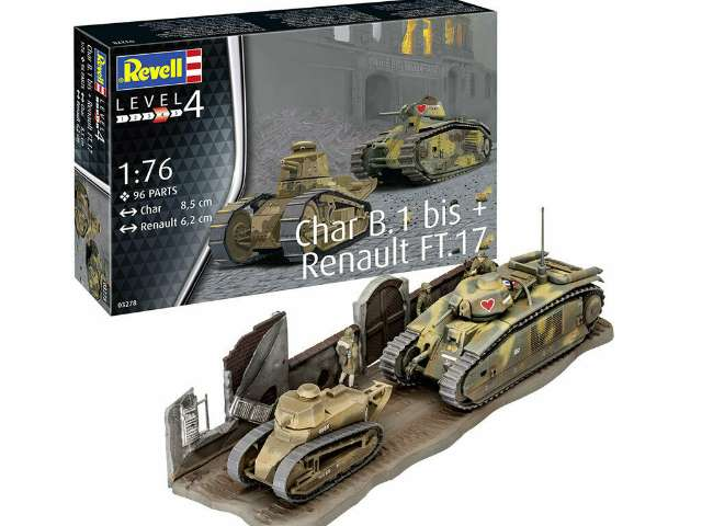 Revell Char. B.1 bis and Renault FT.17