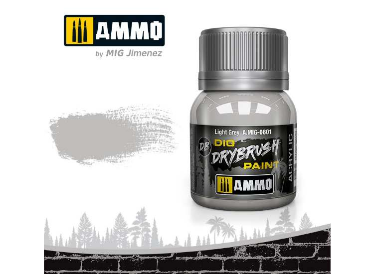 Ammo Mig 40ml 0601 Drybrush Acrylic Paint - Light Grey