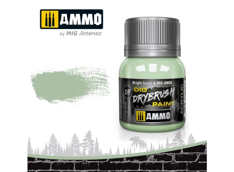 Ammo Mig 40ml 0605 Drybrush Acrylic Paint - Bright Green