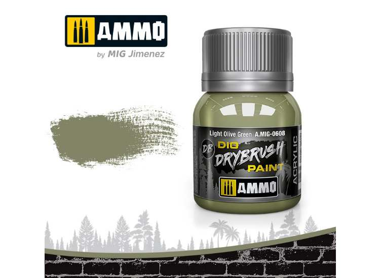 Ammo Mig 40ml 0608 Drybrush Acrylic Paint - Light Olive Green