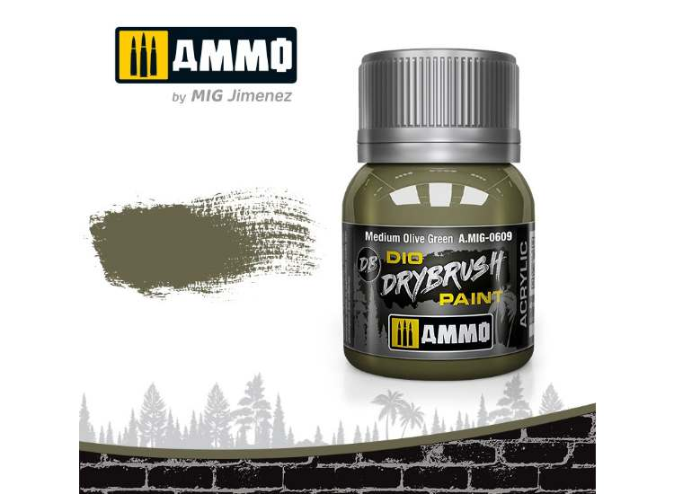 Ammo Mig 40ml 0609 Drybrush Acrylic Paint - Medium Olive Green