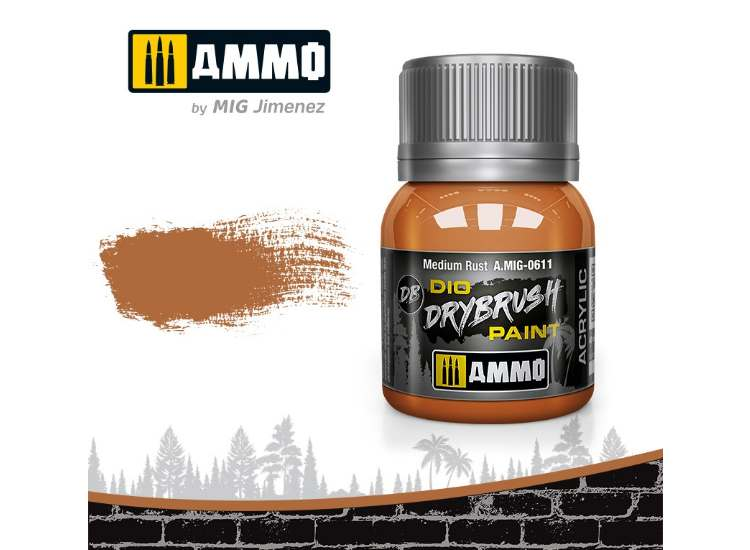 Ammo Mig 40ml 0611 Drybrush Acrylic Paint - Medium Rust