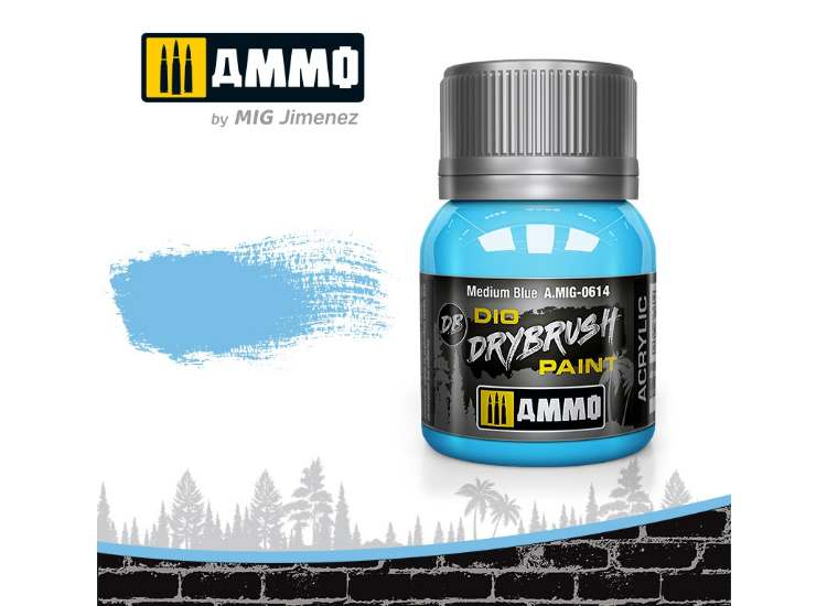 Ammo Mig 40ml 0614 Drybrush Acrylic Paint - Medium Blue