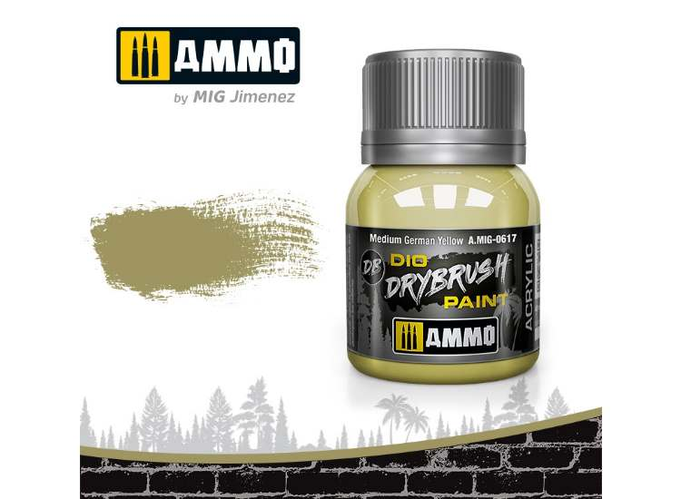 Ammo Mig 40ml 0617 Drybrush Acrylic Paint - Medium German Yellow