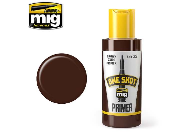 Ammo Mig 60ml 2026 One Shot Acrylic Primer - Brown Oxide