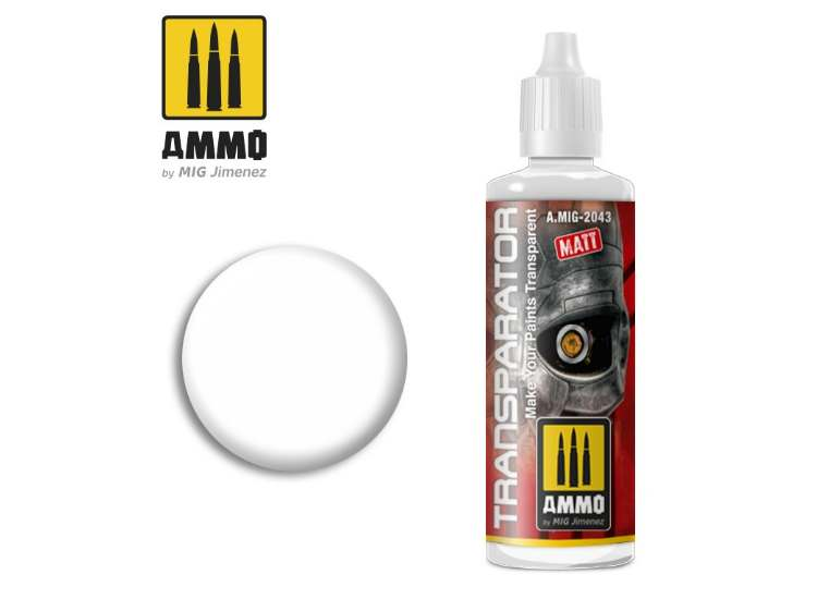 Ammo Mig 60ml 2043 Transparator - Matt Acrylic Paint Semi Transparant Thinner