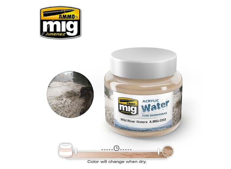 Ammo Mig 250ml 2203 Wild River Waters - Acrylic Gel Water