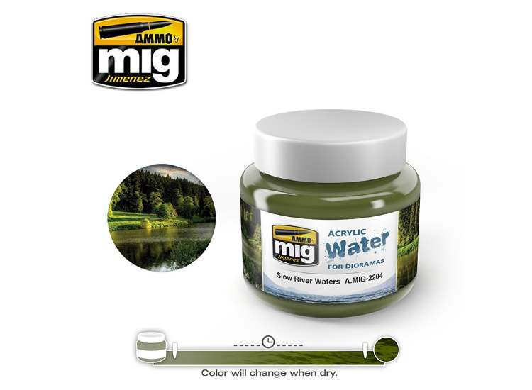 Ammo Mig 250ml 2204 Slow River Waters - Acrylic Gel Water