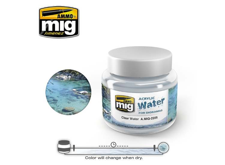 Ammo Mig 250ml 2205 Clear Water - Acrylic Gel Water