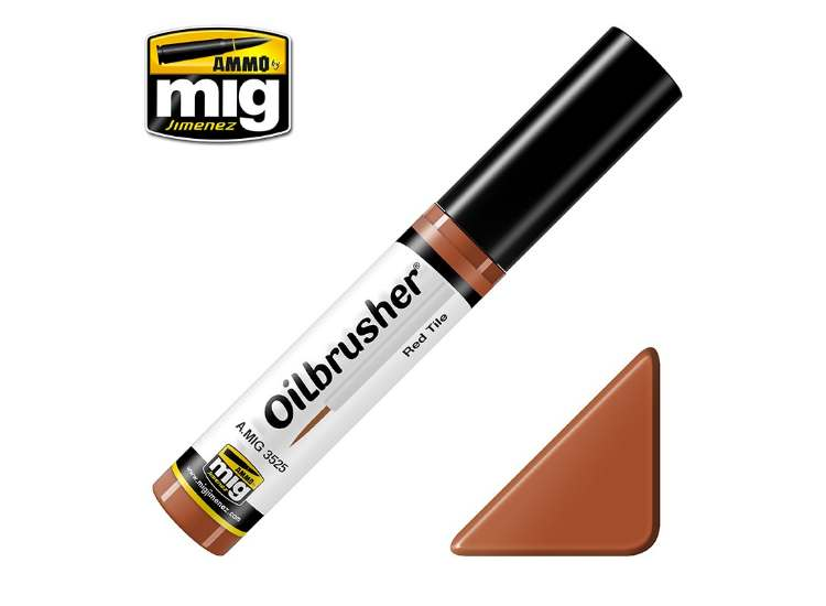 Ammo Mig 10ml 3525 Oilbrusher Paint - Red Tile