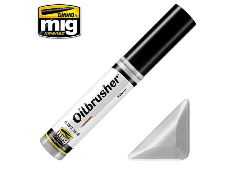 Ammo Mig 10ml 3538 Oilbrusher Paint - Silver