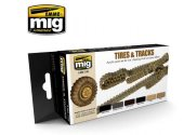 Ammo Mig 17ml x 6 7105 Tyres and Tracks Acrylic Paint Set