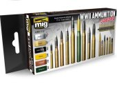Ammo Mig 17ml x 6 7124 WWII Amuntions Colors Acrylic Paint Set