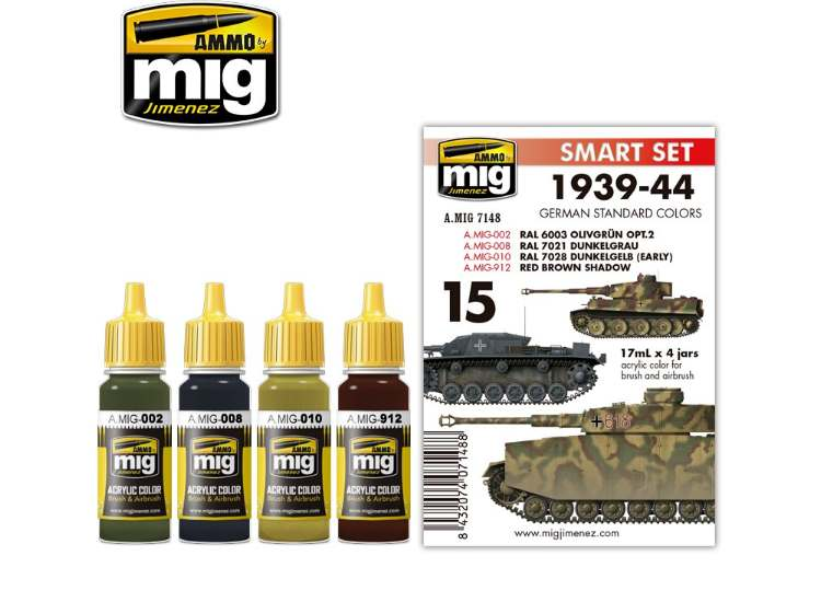 Ammo Mig 17ml x4 7148 1941-1944 German Standard Colours - Acrylic Paint Set