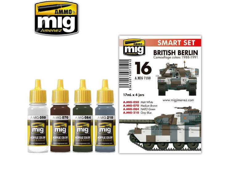 Ammo Mig 17ml x4 7150 British Berlin Camouflage 1988-91 - Acrylic Paint Set