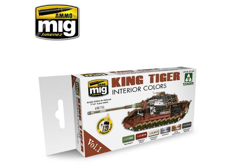 Ammo Mig 17ml x6 7165 King Tiger Interior - Acrylic Paint Set