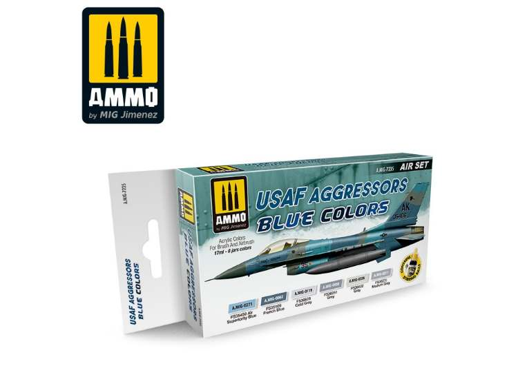 Ammo Mig 17ml x6 7235 USAF Aggressor Blue Colours - Acrylic Paint Set