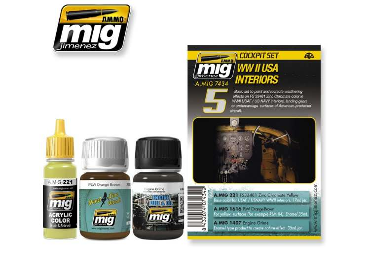 Ammo Mig 35ml x2 & 17 7434 WWII US Aircraft Interiors - Weathering Set
