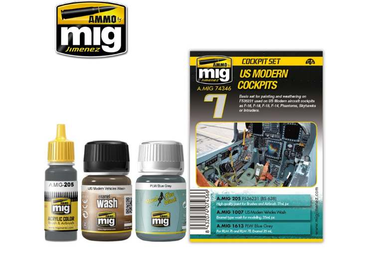 Ammo Mig 35ml x2 & 17 7436 US Modern Cockpits - Weathering Set
