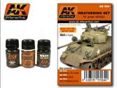 AK Interactive 35ml x 3 00064 Weathering Set For Green Vehicles