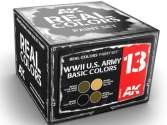 AK Interactive 10ml x4 RCS013 Real Colors Lacquer Paint Set - US Army Basic