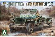 Takom 1/35 2126 U.S. Army 1/4 ton Utility Truck with 1/4 ton Utility Trailer + MP Figure