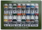 Vallejo 17ml x16 70101 Model Color Acrylic Paint Set - Folkstone Basics