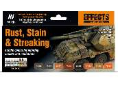 Vallejo 17ml x8 70183 Model Color Acrylic Paint Set - Rust, Stain, Streaking