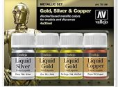 Vallejo 4x35ml 70199 Metallic Paint Set - Gold, Silver & Copper