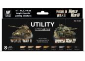 Vallejo 17ml x8 70201 Model Color Acrylic Paint Set - WWII / WWIII Utility