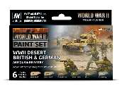 Vallejo 17ml x6 70208 Model Color Acrylic Paint Set - Desert British and German