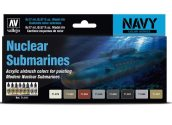 Vallejo 17ml x8 71611 Model Air Paint Set - Nuclear Submarines