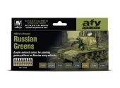 Vallejo 17ml x8 71613 Model Air Acrylic Paint Set - Russian Greens 1928's to Present