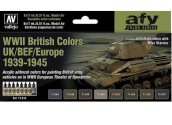Vallejo 17ml x8 71614 Model Air Paint Set - WWII British Tank Colours 1939-45 UK/BEF/Europe