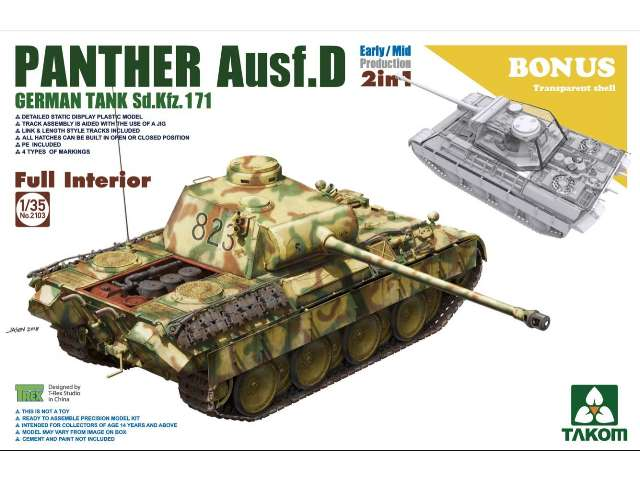 Takom Early/Mid  Panther Ausf.D with full interior 2 in 1 plus clear shell 2103