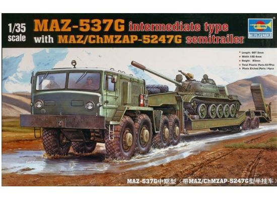 Trumpeter MAZ-537G intermediate type with MAZ/ChMZASP 5247G semi-trailer 00211