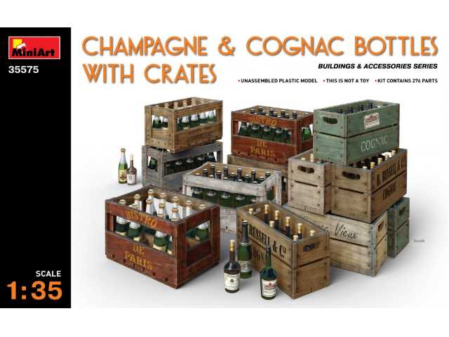 Champagne and Cognac Bottles with Crates