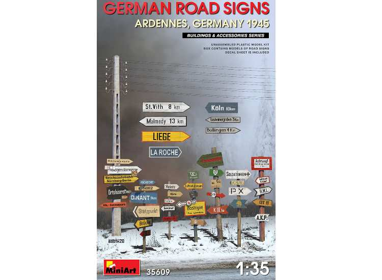 Miniart German Road SignsWWII  (Ardennes, Germany 1945) 35609
