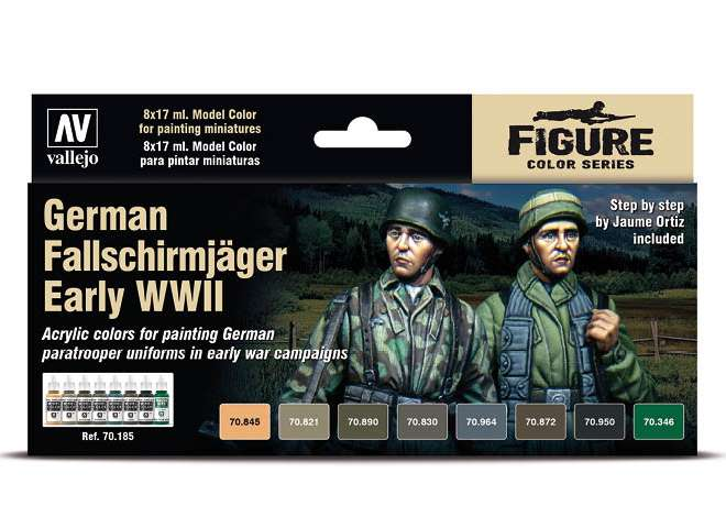 Vallejo Model Color Acrylic Paint Set - Fallschirmjager Early 70185