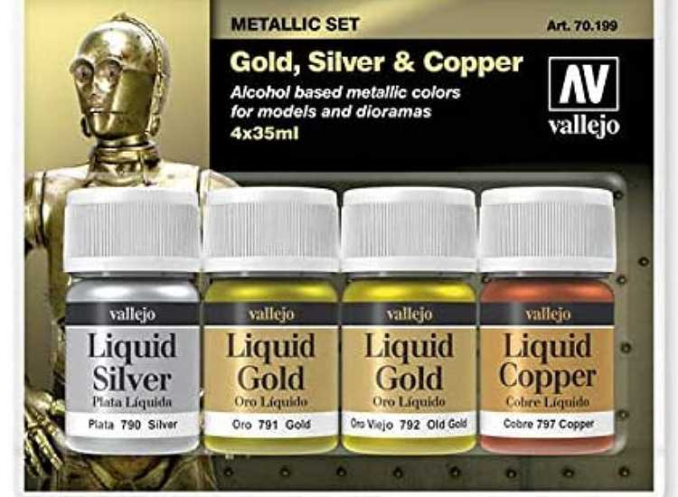 Vallejo Metallic Paint Set - Gold, Silver & Copper 70199