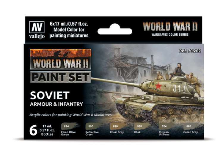 Vallejo Model Color Acrylic Paint Set - WW2 Soviet Armour / Infantry 70202