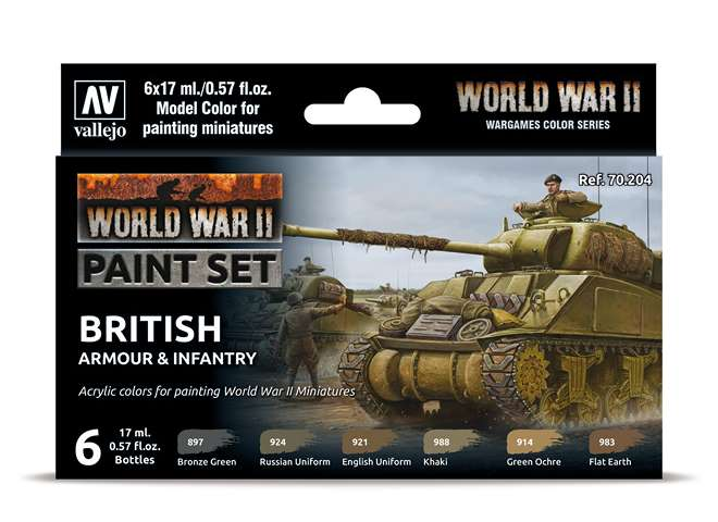 Vallejo Model Color Acrylic Paint Set - WWII British Amour / Infantry 70204