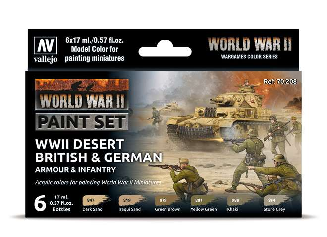 Vallejo Model Color Acrylic Paint Set - Desert British and German