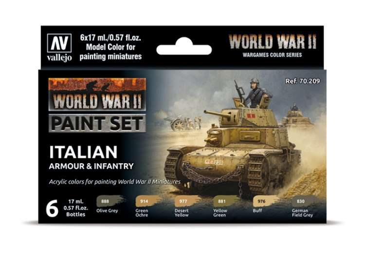 Vallejo Model Color Acrylic Paint Set - Italian Armour / Infantry 70209