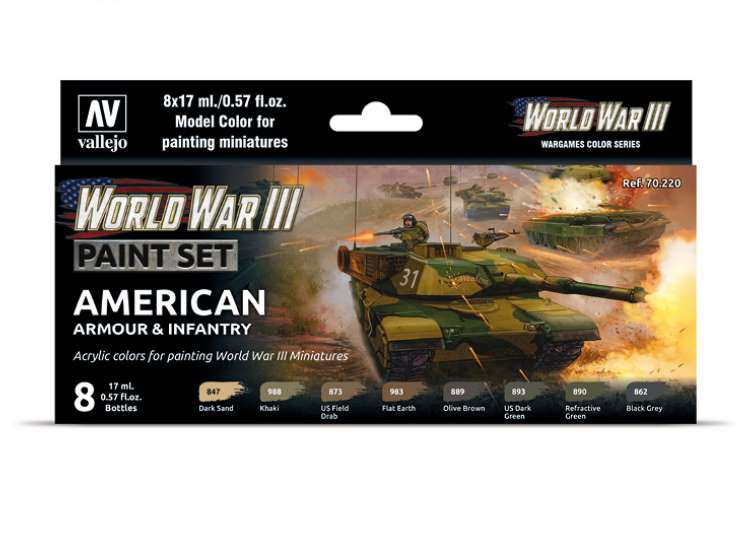 Vallejo Model Color Acrylic Paint Set - WWIII American Armour / Infantry 70220