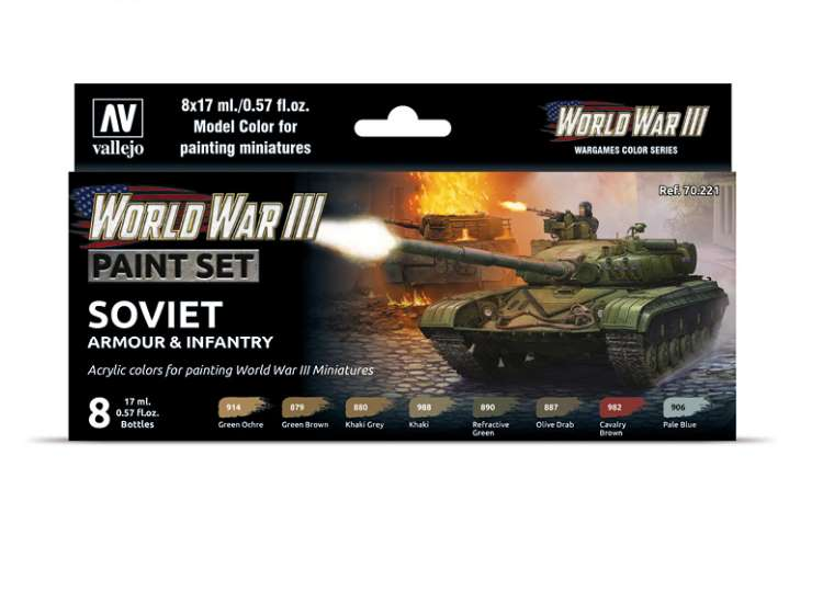 Vallejo Model Color Acrylic Paint Set - WWIII Soviet Armour / Infantry 70221