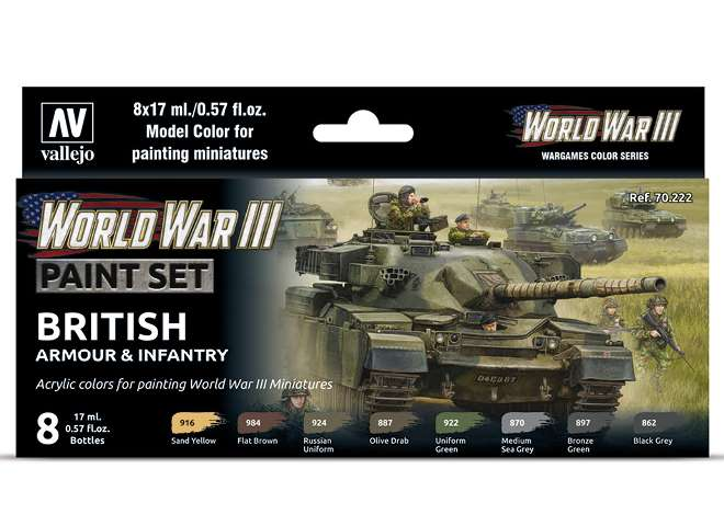 Vallejo Model Color Acrylic Paint Set - WWII British Armour / Infantry 70222