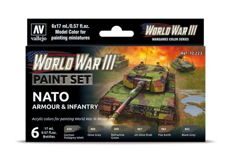 Vallejo Model Color Acrylic Paint Set - WWIII NATO Armour / Infantry 70223